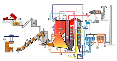 Schematic of Direct Combustion Process. Biomass is delivered and burned in the 					  boiler which heats water into steam that powers a steam turbine and generator
