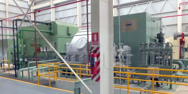 Generator at left is powered by the steam turbine shown on the right.